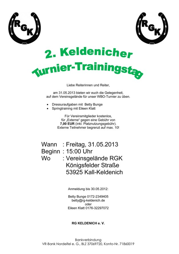 Turnier-Trainingstag 2013