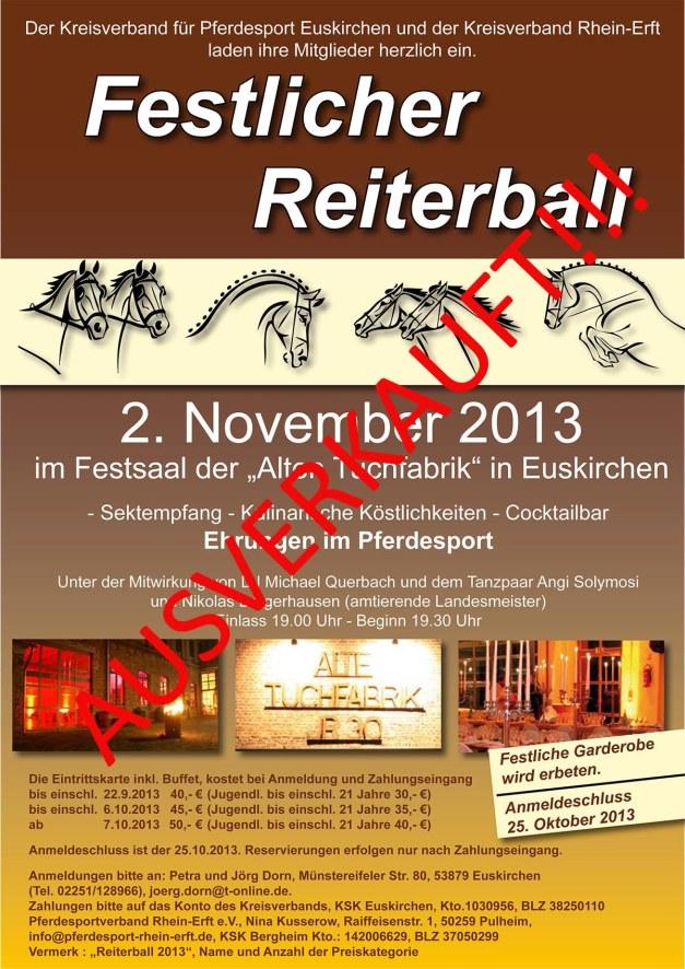AUSVERKAUFT ReiterballPlakat2013