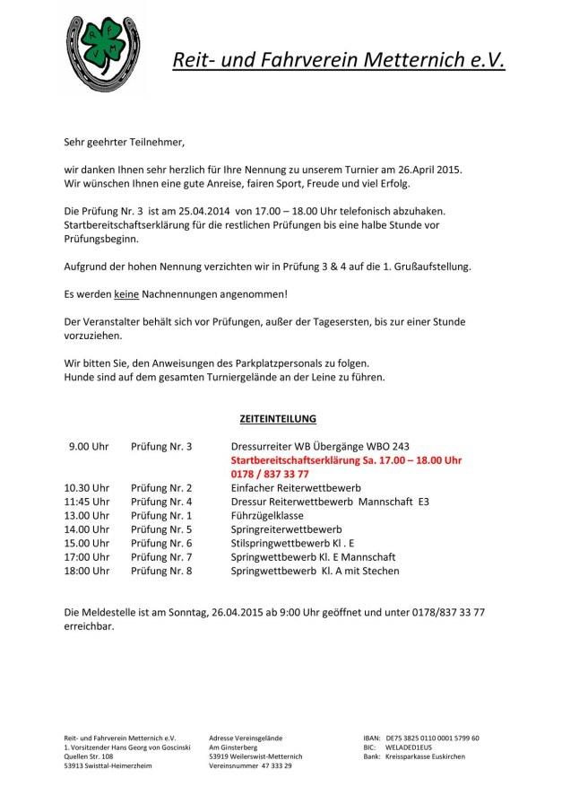 Zeiteinteilung Reitturnier 2015